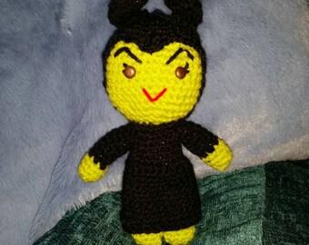 "crochet doll villain evil maleificent queen green 6"" sci-fi geek retro gift vegan cartoon amigurumi disnyana gift"