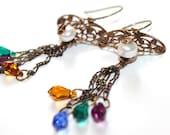 Art Deco Vintaj Brass, Pearls, and Swarovski Crystal Chandelier Earrings - gold, green, blue, purple, amber,