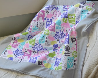 multi animal baby blanket, fleece play mat, fleece baby blanket, cot blanket, baby quilt