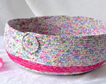 Pink Shoe Storage Basket, Handmade Pink Cotton Basket, Shabby Chic Pink Storage Organizer, Pet Bed, Dog Bed, Toy Basket, Decorative Basket