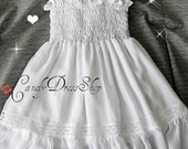 White dress for girls, Organic cotton and silk dress, White Flower girl dress, White birthday dress, Baby girls white dress, Soft dress