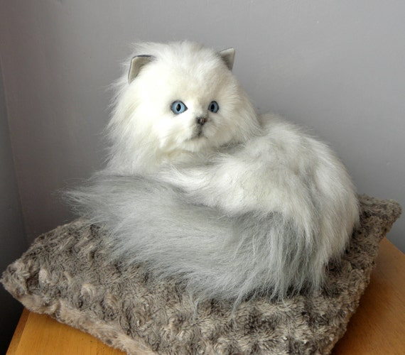 vintage toy cat real soft toys white fluffy cat 13 inch