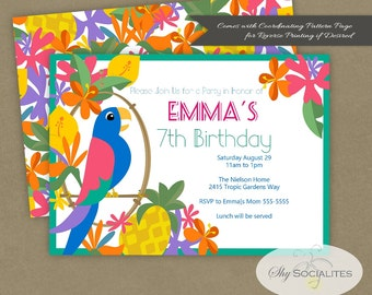 Tiki Party Invitation | Parrot Invitation | Macaw | Tropical, Pool Party, Pineapple, Birthday, Housewarming | Download | Editable Text PDF