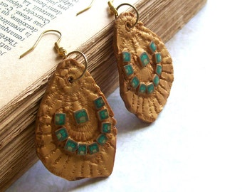Romantic antique style golden earrings polymer clay dangle earrings green mosaic one-of-a-kind unique shabby chic statement earrings
