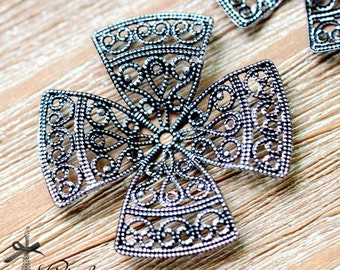 Antiqued Silver  plated RAW brass Filigree  Jewelry Connectors Setting Cab Base Connector Finding  (FILIG-AS-32)