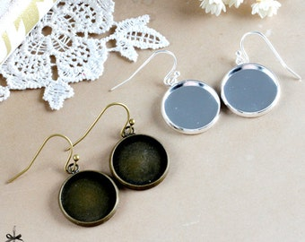 16mm Antique Bronze / Silver plated brass Earring ear hook  Hoop with 16mm Round Pad NICKEL FREE (EAR-100 / 101)