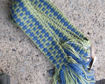 "Sash - Green and Blue 88"" Long, 2.5"" Wide, 100% Wool, Handwoven on Inkle Loom, Colonial, pirate, renaissance"