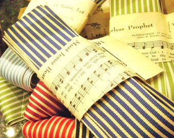 Striped ribbon in 5 yard lengths by May Arts French striped cotton grosgrain