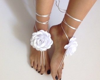 white rose barefoot sandles, wedding ,Bikini , Women , Beach , Bridal Sandals , Bridal Jewelry ,shoes , READY TO SHIP