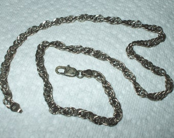 Vintage Sterling Silver Twisted Chain Necklace Heavy Link Italy 18 Inches 20 Grams Vintage 1980's