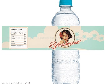 Vintage Retro Hawaiian Pin Up Water Bottle Labels, Party Printables, Instant Download