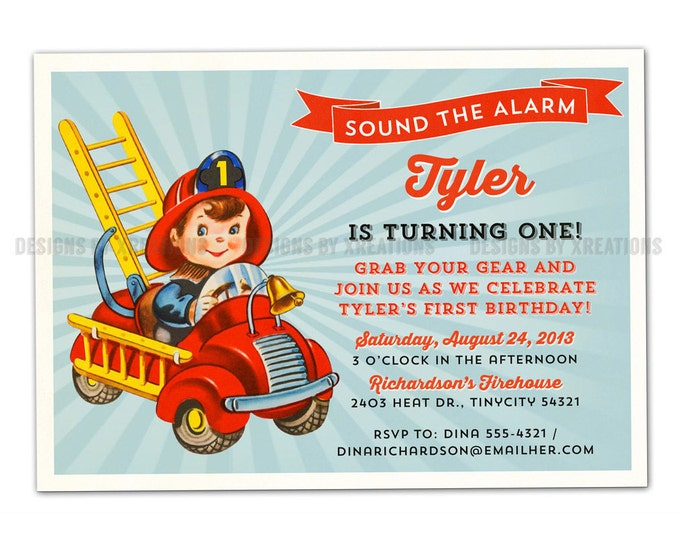 Firetruck, Fireman, Fire Engine Invitation, I will customize for you, Print your own