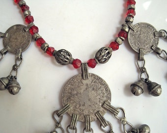 Vintage Bedouin Necklace - Silver and Red Glass - Thaler and Guilder Coin Pendants  - Yemeni Jewelry - Tribal Jewelry