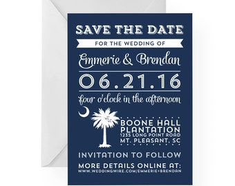 South Carolina Palmetto Moon Subway Style Save the Date, Wedding Engagement Announcement-Any Color and all Custom Text, Palmetto Greetings