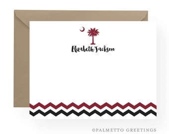 Reserved for Kate - University of South Carolina Gamecocks Inspired Notecards, South Carolina Palmetto Moon Notecards with Chevron stripes