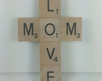 Upcycled, Recycled, MOM LOVE, Wood tile, Game piece, Scrabble tile cross magnet, refrigerator magnet, Motherly love magnet, Mom magnet
