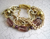 Gold and Plum Multi-Chain Bracelet, Free US Shipping
