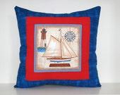 Sailboat Pillow, Beach Cottage Decor, Nautical