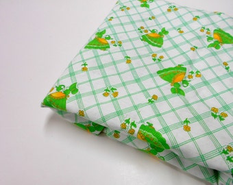 Vintage Fabric, 1 yard Remnant, Green Print on White, Sunbonnet Girl Watering Flowers