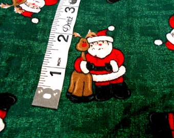 Santa & Reindeer Holiday Print Fabric, 1 yd Mystery Sewing Material, Christmas Print Fabric