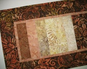Batik Table Runner, Autumn, Wall Hanging, quilted,