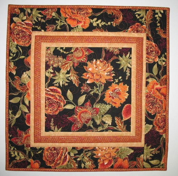 Black Flower Fabric Timeless Treasures Tree Of Life: Autumn Table Topper Or Wall Hanging Fabric By