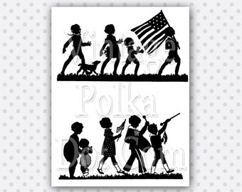 Clip Art Vintage Silhouettes of Marching Children with American Flag Music Clipart Antique Printable Digital Instant Download