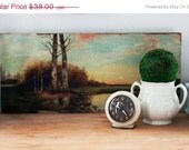 RESERVED SHOP SALE Vintage Unframed Landscape Oil Painting