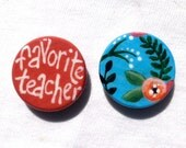 Favorite teacher flowers painted magnet set