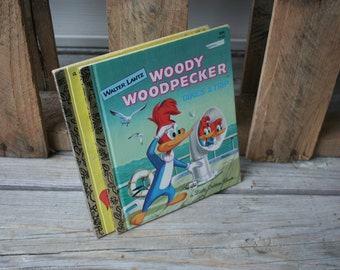 Set of Two Vintage Woody the Woodpecker by Walter Lantz Little Golden Books - Instant Collection - Children's Books