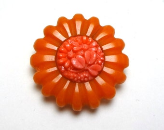 Bakelite and other plastic dress clip, Faux coral and Bakelite, Orange and Coral colors