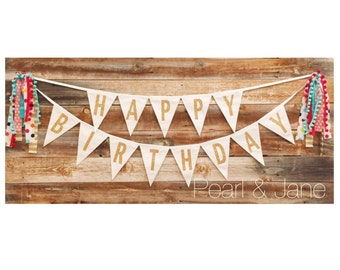 Happy Birthday Fabric Banner, Bunting, Garland - Gold Glitter Letters