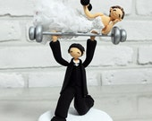 Comic and Funny weight lifting theme custom wedding cake topper