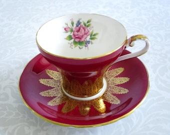 Red Aynsley Vintage Tea Cup and Saucer  /  Teacup and Saucer Set Red and Gold  /  Aynsley Cup and Saucer Set  SwirlingOrange11