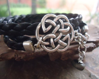 BRAIDED & Celtic Knot - wrap bracelet (1017)