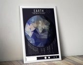 Earth and the Moons // Human Space Exploration Infographic Print with Planetary Mission Timeline // Blue and Gray Low Poly Illustration