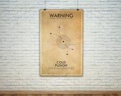 Cold Fusion  // Vintage Science Experiment Warning Poster // Finge Inspired Wall Art for the Budding Mad Scientist