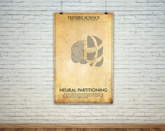 Neural Partitioning  // Vintage Science Experiment Warning Poster // Finge Inspired Wall Art for the Budding Mad Scientist
