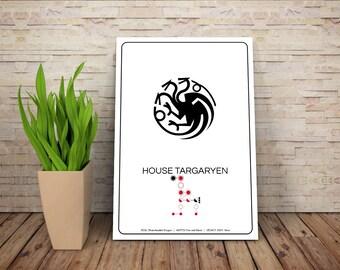 SPOILERS - House Targaryen // Dragon Sigil Pictogram and Liniage Graphic // GOT Inspired Art Print