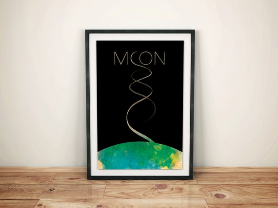 Relative Levels of Sanity // Moon Alternate Movie Poster // Moon Crescent, Earth, and Helix Contrail Illustration