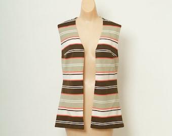 Vintage 60s striped Vest / 60s Top / Mod Vest / Jacket Sleeveless
