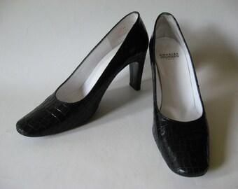 REDUCED Charles Jourdan croc print black leather Paris France pumps slim heels SZ 8.5 B vintage 80s 90s