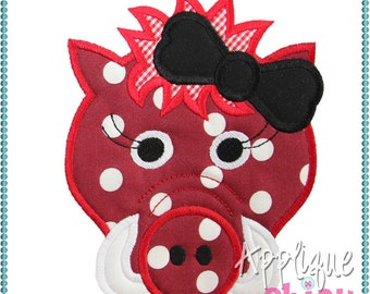Hog Girl Applique Design