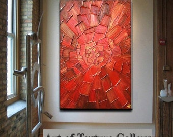 Big Abstract Painting Custom Original Heavy Textured Impasto Modern Red Gold Oil by Je Hlobik