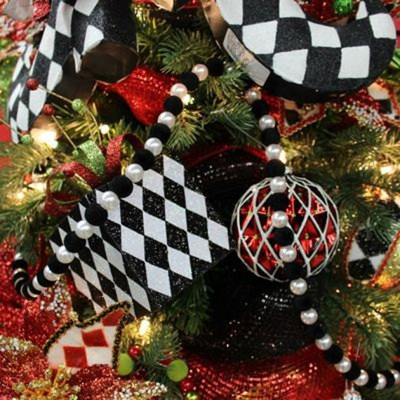 Black And White Christmas Decoration Ideas: Black White Diamond Wired Ribbon Garland Decoration