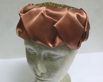 SALE - Vintage Soft Pillbox Hat With Bronze Satin Ribbon Surround and Colorful Foil Fabric Top - Union Made - H3NC