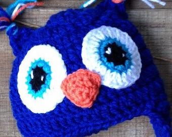 Owl Hat, Crochet Owl Hat, Owl Beanie, Blue Owl Crochet Hat