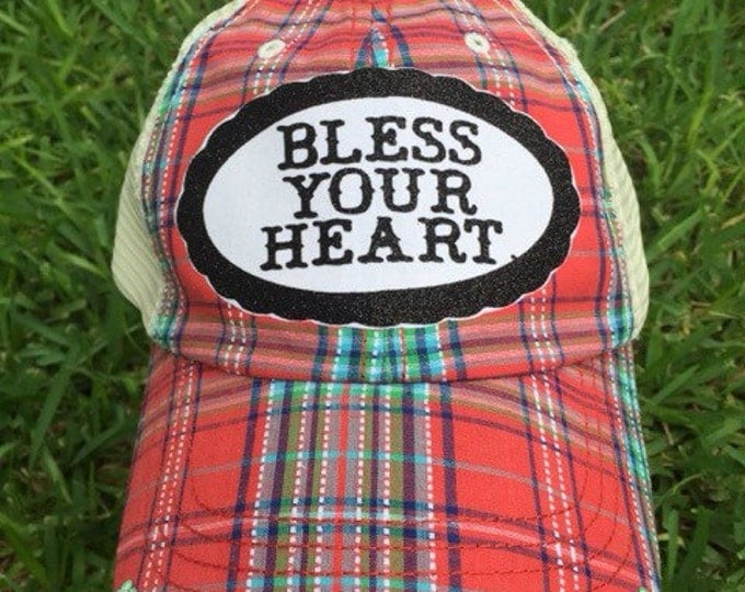 Bless Your Heart Rhinestone Bling Womens Baseball Cap, Trucker Baseball or Cadet Cap, Southern Sayings
