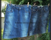 Customized TWO PACK denim Skirts modest below the knee size 0 2 4 6 8 10 12 14 16 18 20