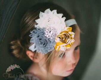 Baby Headband, Newborn Headband, Grey Yellow and white Headband, Baby Bows, Hairbows, flower headband, baby headbands, Shabby chic Headband.